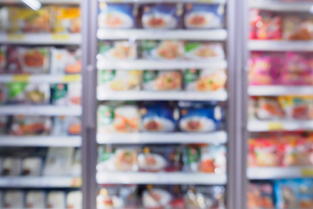Photo pour Abstract supermarket refrigerator for storage frozen food product in grocery store - image libre de droit