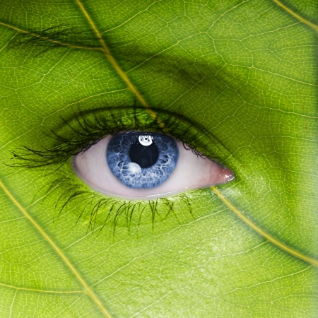 Photo for Face with leaf texture - Royalty Free Image