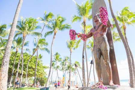 Photo for Duke Kahanamoku (surfing legend) statue on Waikiki beach, Honolulu, Hawaii, USA - Royalty Free Image