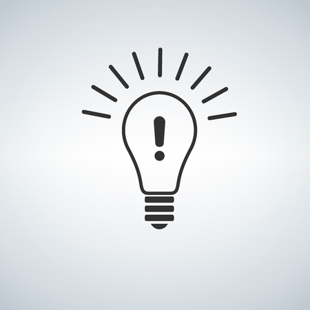 Ilustración de Warning light bulb illustration design over a white background - Imagen libre de derechos