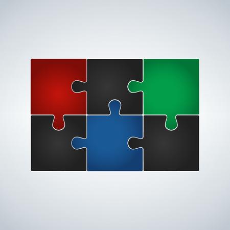 Illustration pour Six step puzzle colorful infographic, vector illustration. - image libre de droit
