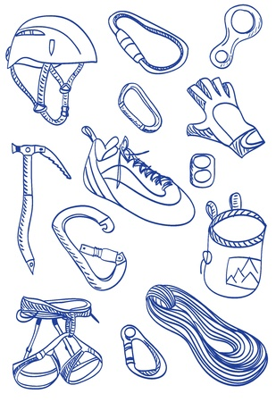 Illustration of a mountain climbing accessories and equipment.