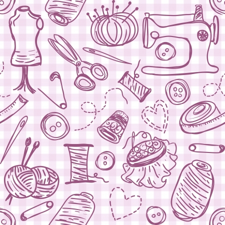 Illustration pour Illustration of sewing doodles on seamless pattern background - image libre de droit
