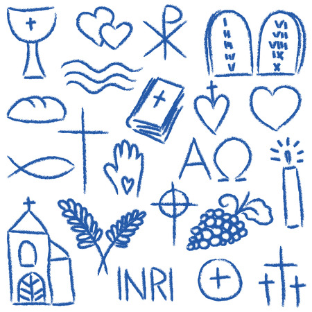 Illustration pour Illustration of religious hand-drawn symbols - chalky style - image libre de droit