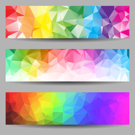 Illustration pour Set of banners with abstract geometrical triangles - image libre de droit
