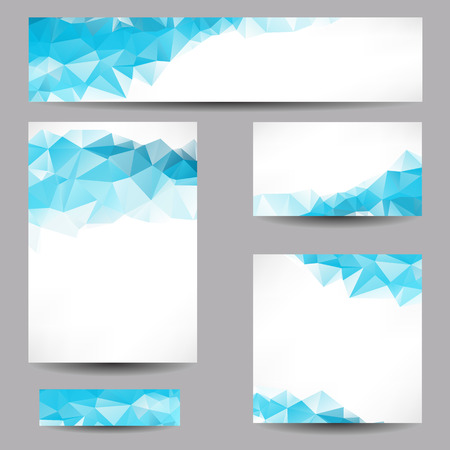 Illustrazione per Set of templates with abstract geometrical triangles - Immagini Royalty Free
