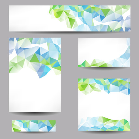 Ilustración de Set of templates with abstract geometrical triangles - Imagen libre de derechos