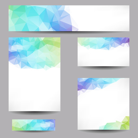 Illustration pour Set of templates with abstract geometrical triangles - image libre de droit