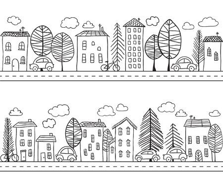 Ilustración de Illustration of hand drawn houses, seamless pattern - Imagen libre de derechos