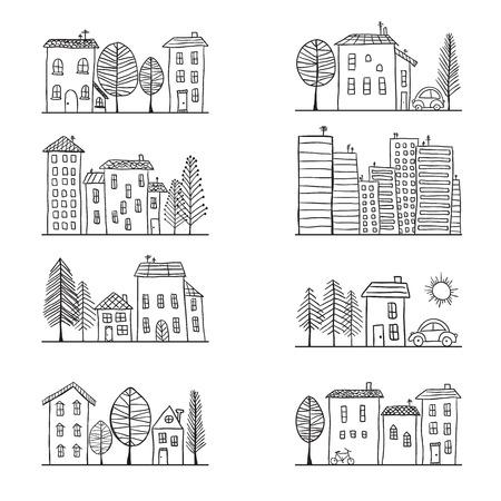 Illustration pour Illustration of hand drawn houses, small town - image libre de droit