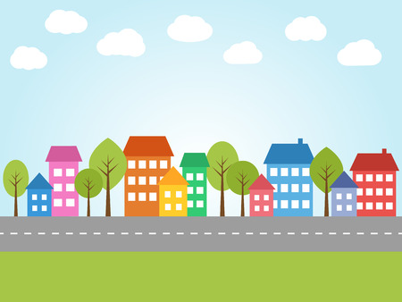 Illustration pour Illustration of city with colored houses and street - image libre de droit