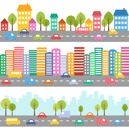 Illustration pour Illustration of city with cars and street seamless pattern - image libre de droit