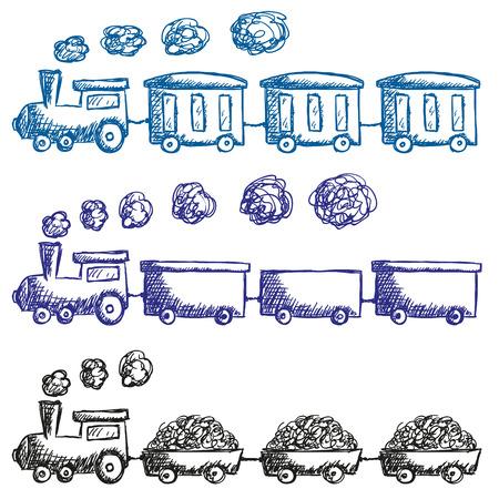 Illustration pour Illustration of train and wagons doodle style - image libre de droit