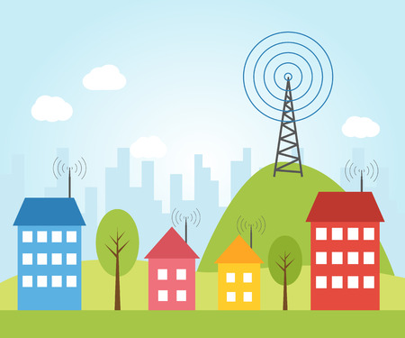 Illustration pour Illustration of wireless signal of internet into houses in city - image libre de droit