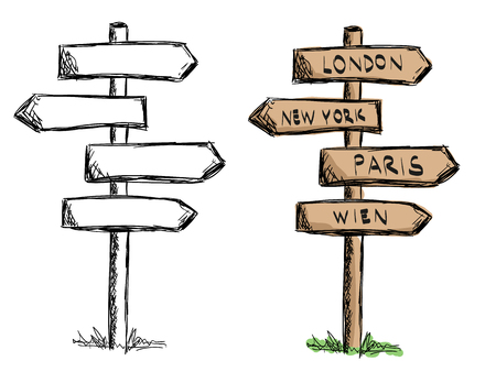 Illustration pour Set of doodle wooden sign boards with cities. .Vector illustration isolated on white. Hand drawn sketch of signs. - image libre de droit