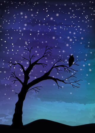 Ilustración de Tree crosses on the night sky, digital watercolor painting - Imagen libre de derechos