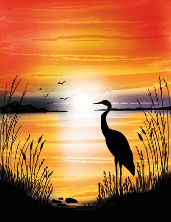 Ilustración de The heron on the lake on sunset, digital watercolor painting - Imagen libre de derechos