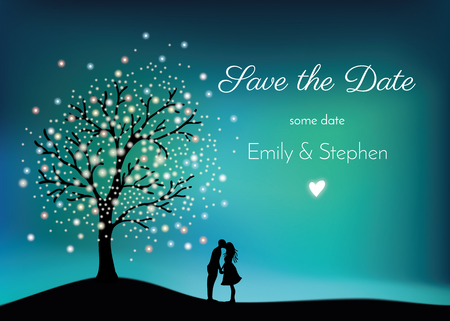 Illustration pour Glowing tree on the night sky with pair in love, digital painting - image libre de droit