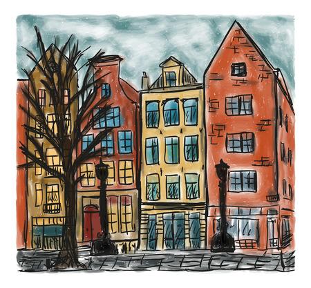 Ilustración de The european city house style, colored hand drawn painting - Imagen libre de derechos