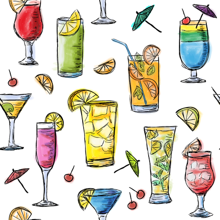 Illustration for Illustration of tropical exotic cocktails. Multicolored summer time cocktails. Seamless pattern. - Royalty Free Image