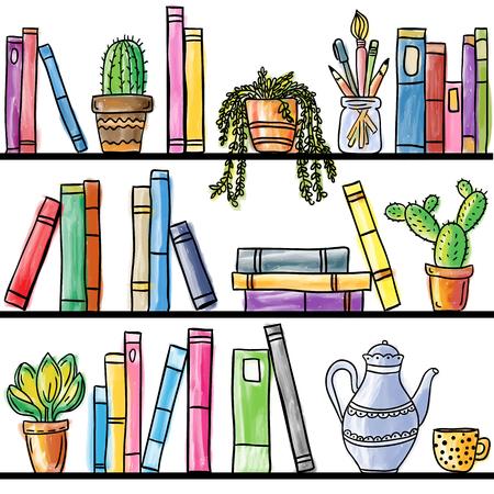 Illustration pour Book shelf seamless pattern, colored illustration - image libre de droit