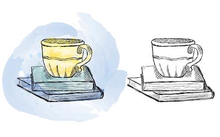 Ilustración de Illustration of hand drawn cup on books, watercolor artwork - Imagen libre de derechos