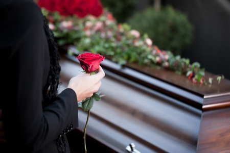 Religion, death and dolor - funeral and cemetery; funeral with coffin