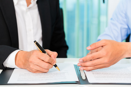 Photo for business people sign agreement - Royalty Free Image