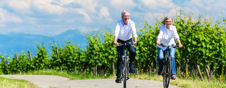 Photo pour Seniors riding bicycle in vineyard together, panorama picture - image libre de droit