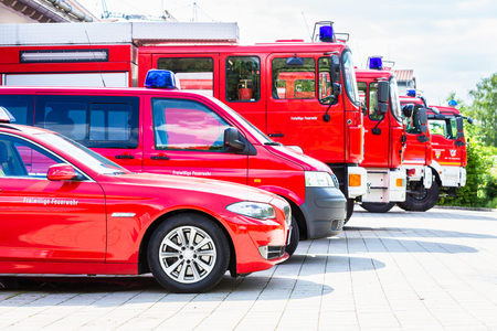 Foto de Car pool with fire engines of fire department - Imagen libre de derechos