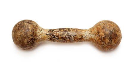 Gymnastic heavy dumbbell rusted on white background