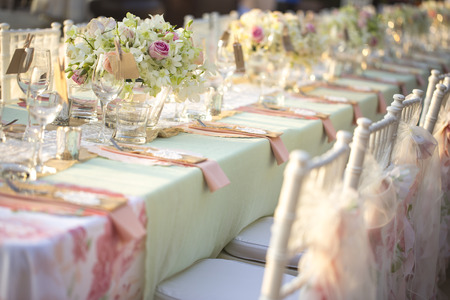Photo for Table setting for an wedding reception - Royalty Free Image
