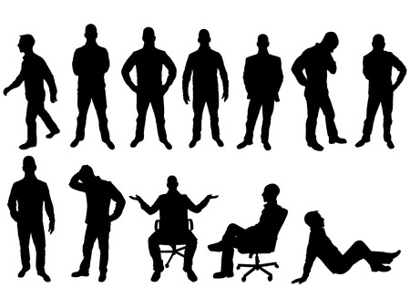 Illustration for BUSINESS MAN SILHOUETTE - Royalty Free Image