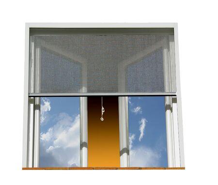 Foto de Window equipped for protection against mosquitoes. White background. - Imagen libre de derechos