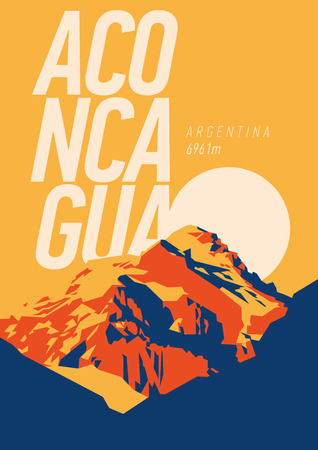 Illustration pour Aconcagua in Andes, Argentina outdoor adventure poster. High mountain at sunset illustration. - image libre de droit