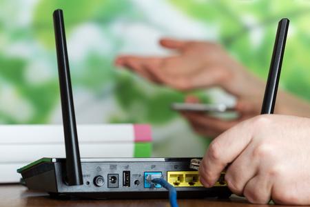 Photo pour Wireless equipment, modern Wi-Fi router for Internet connection - image libre de droit