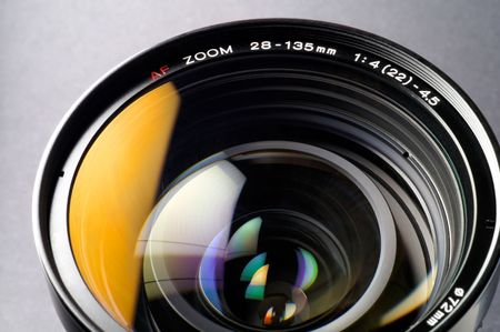 Camera lens closeup (2): this sample is from an SLR (single lens reflex).