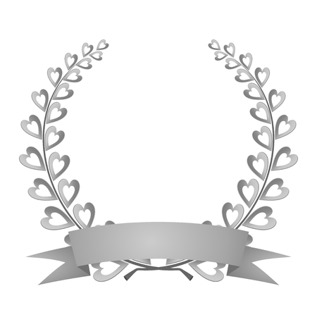 Illustration pour Silver laurel wreath silver composed of two branches with colorful hearts and stems with a silver ribbon for the first place for winner on a white background - image libre de droit