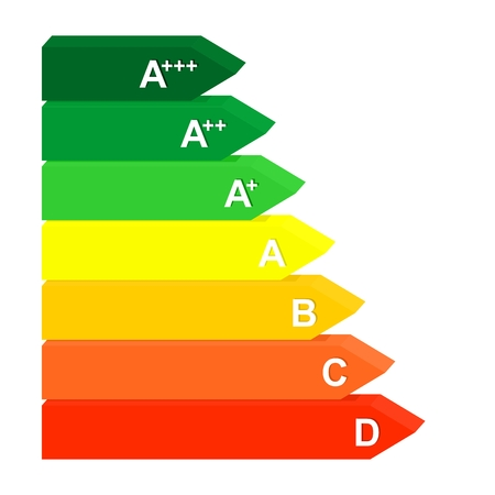 Ilustración de Energy class label from efficiency A to D from green to red. - Imagen libre de derechos