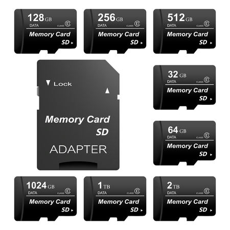 Illustrazione per Set of black standard digital sd memory cards front and back with gold contact with adapter for sd card on a white background. Collection media card for digital data - Immagini Royalty Free