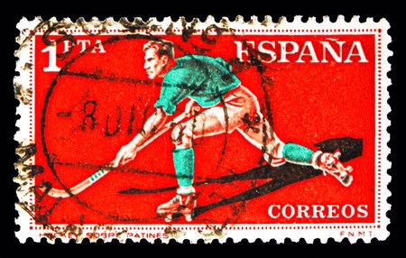 Foto de MOSCOW, RUSSIA - MAY 10, 2018: A stamp printed in Spain shows Roller Hockey, Sports serie, circa 1960 - Imagen libre de derechos