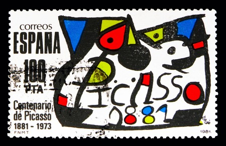 Foto de MOSCOW, RUSSIA - MAY 10, 2018: A stamp printed in Spain shows Homage to Picasso, Homages serie, circa 1981 - Imagen libre de derechos