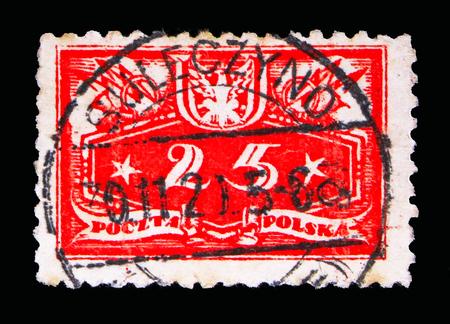 Foto de MOSCOW, RUSSIA - MAY 13, 2018: A stamp printed in Poland shows Face value below, Official stamps 1920 serie, circa 1920 - Imagen libre de derechos