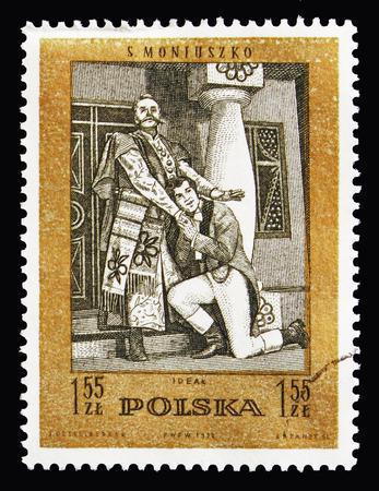 Foto de MOSCOW, RUSSIA - AUGUST 18, 2018: A stamp printed in Poland shows Ideal (operetta), Stanislaw Moniuszko(1819-1872), composer serie, circa 1972 - Imagen libre de derechos