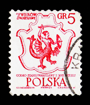 Foto de MOSCOW, RUSSIA - SEPTEMBER 15, 2018: A stamp printed in Poland shows Warsaw's Coat of Arms, 17th Century, 700th Anniversary Of Warsaw serie, circa 1965 - Imagen libre de derechos