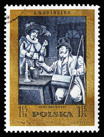 Foto de MOSCOW, RUSSIA - AUGUST 18, 2018: A stamp printed in Poland shows New Don Quixote (ballet), Stanislaw Moniuszko(1819-1872), composer serie, circa 1972 - Imagen libre de derechos