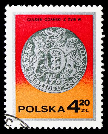 Foto de MOSCOW, RUSSIA - SEPTEMBER 15, 2018: A stamp printed in Poland shows King Augustus III guilder, Gdansk, 18th century, Silver coins serie, circa 1977 - Imagen libre de derechos