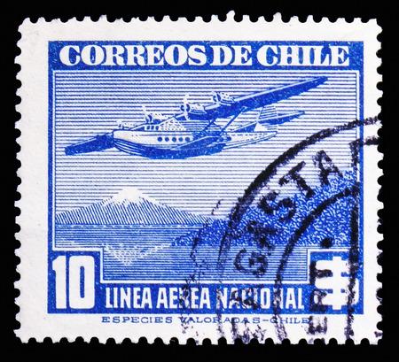 Foto de MOSCOW, RUSSIA - NOVEMBER 10, 2018: A stamp printed in shows Chile, Air Mail Type 1941 blue serie, circa 1942 - Imagen libre de derechos