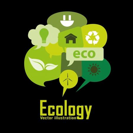 Ilustración de ecology icons in different green text box - Imagen libre de derechos