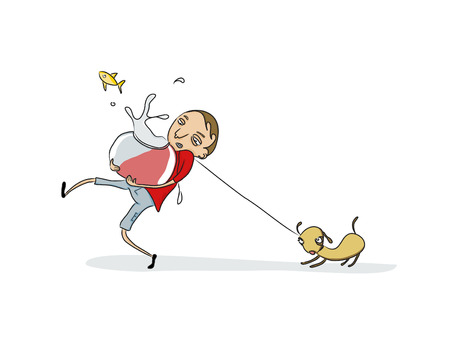 Vector Illustration of Funny young fellow taking care of his pets